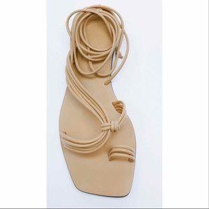 ZARA Beige Tube Strap Low Heeled Sandals Size 11